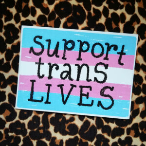SUPPORT TRANS LIVES – 97mm x 69mm POLYESTER STICKER